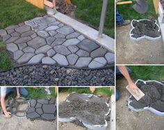 DIY Concrete Cobblestone #garden #DIY #pavers