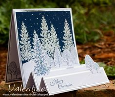 Lovely as a tree - white embossing powder and silver matting - lovely