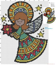 Colored angel cross stitch pattern
