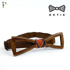 OKTIE Classic Wooden Bow Tie Handmade Bowtie Wood Accessories Gift for Men Ash curved bow tie Brown Whiskey - Groom fashion accessories (*Amazon Partner-Link)