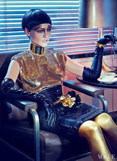 From the Archives: Sparkle in Vogue - Vogue Daily - Fashion and Beauty News and Features Sasha Pivovarova Photographed by Steven Klein, Vogue, December 2011 Sasha Pivovarova, Daily Fashion, Fashion Art, Editorial Fashion, High Fashion, Fashion Design, Editorial Photography, Fashion Photography, Costume Original