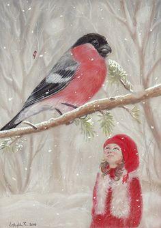 Original Art: Bullfinch and gnome-girl  by ArtLisbethThygesen