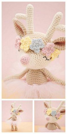 Crochet Deer, Baby Girl Crochet, Crochet For Kids, Free Crochet, Crochet Patterns Amigurumi, Crochet Dolls, Crochet Crafts, Crochet Projects, Crochet Designs