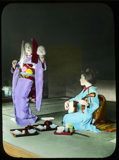 Dance with a mask to one player of Samisen Enami Studio Lantern Slide No : 382. About 1920's, Japan