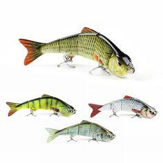 "5"" Minnow Fishing Lure 4 Segment Fishing Bait Lifelike Crankbait VMC Hook Wobbler Tackle  3D Eyes Hard Bait Fish Pesca #AL03C"
