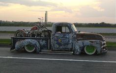 Custom bikes in a slammed old truck http://TreyPeezy.com http://twitter.com/treypeezy