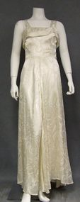 Printed Ivory Satin 1940's Evening Gown