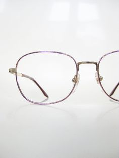46bd70993a06 Vintage Pink Eyeglasses Wire Rim Pastel Rose Gold Geek Chic Womens  Deadstock Glasses Optical Frames NOS New Old Stock Golden Metallic Indie