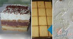 Vynikající čokoládovo-vanilkové řezy z bebe sušenek | NejRecept.cz Tiramisu, Cheesecake, Pasta, Sweets, Baking, Ethnic Recipes, Mini Pavlova, Cakes, Brownies