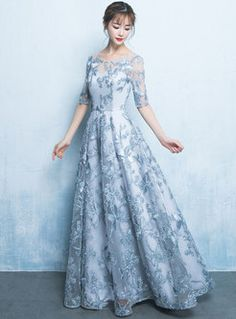 It's Yiiya Lace Evening Dresses 2020 Flower Embroidery A Line Women Banquet Formal Gowns O-Neck Elegant Party Vestito Lungo Lace Party Dresses, Prom Dresses With Sleeves, Formal Evening Dresses, Formal Gowns, Elegant Dresses, Beautiful Dresses, Dress Formal, Retro Prom Dress, Grey Prom Dress