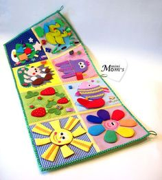 Developing play mat consists of 8 sectors with developing tasks. It is developed for children starting from 9 months. It contains especially tasks only