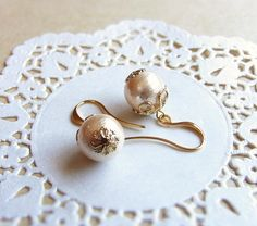Cotton Pearl Earrings . bridal jewelry . japanese pearls by CocoroJewelry on Etsy