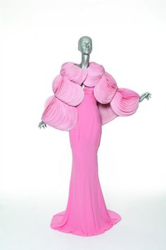 Evening Ensamble : Long Empire Dress With Draped Bodice, Sheath With Ribbed Darts and Triangular Train Made Of Pink Silk Crepe; Cape entirely Composed Of Pink Organdi Petals - Valentino Haute Couture Fall/Winter 2007/2008 - Shown at the Gallery of Modern Art; Valentino Retrospective