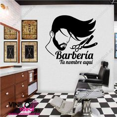 VINILOS PARA BARBERIAS, ADHESIVOS, DECORACIÓN BARBERIAS Barber Shop Interior, White Leather Chair, Barbershop Design, Salon Chairs, Beauty Salon Design, Salon Furniture, Barber Chair, Window Design, Hair And Beard Styles