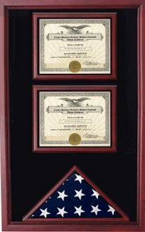 Dual Certificates And A Flag Display Case Medal Award