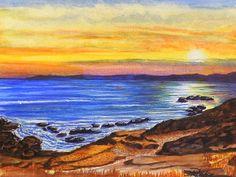 My second offering in watercolor. Golden Cove PaintingsByDarren