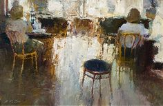 Like looking through a window, Dan McCaw manages to capture a moment and yet forces introspection regarding the meaning of a scene. 'Paris Light' shows us something soft in its elegance, and yet leads us to wonder what the figures in that light see. Experience more of McCaw's works at http://morriswhiteside.com/artists/painters/dan-mccaw