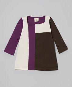 Take a look at this Plum & Coffee Organic Mondrian Dress - Toddler & Girls by YuMiChi Kids on #zulily today!