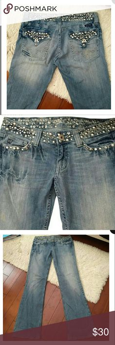 MISS ME JEANS  STUDS & RHINESTONES STYLE: JP4288 Miss Me factory distressed wash jeans size 29. Stone & studs embellished waist band & pockets. Low waist. Great condition!!! Miss Me Jeans