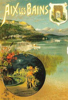 Vintage Travel Poster - Aix les Bains -  Département - Savoie Région : Rhône-Alpes.