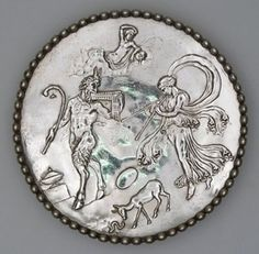 Silver dish; with figures of Pan, nymph and other mythological characters, all…