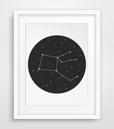INSTANT DOWNLOAD: Printable Pegasus Black and White Constellation Wall Art    ===      Print out this modern wall artwork from your home