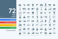 72 war icons by Palau on Creative Market
