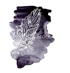 Watercolor design element feather swirl vector  by Rasveta on VectorStock®