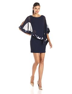 Xscape Womens Sequin Trim Overlay Dress Lovely Navy 6 ** You can find more details by visiting the image link.