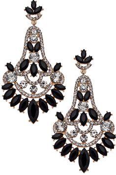 Blu Bijoux Gold Black and Crystal Chandelier Earrings - $39.00