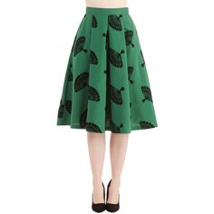 ModCloth Vintage Inspired Knee Length A-line B. Jones Style Skirt ($90) ❤ liked on Polyvore featuring skirts, bottoms, green, apparel, knee length skirts, full midi skirt, full pleated skirt, green a line skirt and full knee length skirt