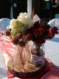 CBV175 Riviera Maya Weddings vintage Mason jar centerpieces/ Riviera Maya Bodas mason jar centro de mesa
