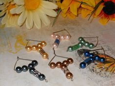 Glass Pearl and Clay Tube Wine Glass Charms by OurBeadedCharms, $8.00