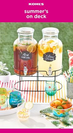 Summer's on deck and so is your party! Here's a stylish way to serve your favorite summer beverages. Get a few glass drink dispensers filled with the beverages of your choice (we recommend mint iced tea or citrus lemonade), stemless wine glasses, a fun se Grad Parties, Birthday Parties, Birthday Ideas, 19th Birthday, Mint Iced Tea, Summer Beverages, Luau Party, Bbq Party, Baby Shower