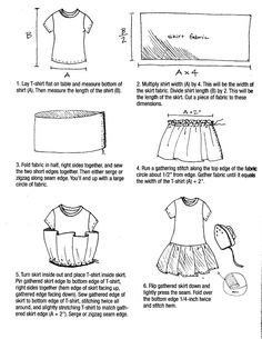 Make a simple dress and repurpose a cute little t-shirt at the same time! These instructions are super-simple, so I thought I'd pass them along. I haven't tried it yet, but it's on my list of thing...