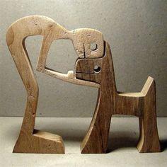 Scultura legno smerlato un uomo un cane di 2virgule5d su Etsy #WoodworkIdeas