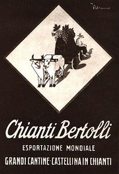 La pubblicità del Chianti Bertolli in un'immagine degli anni '30  Di Nerino , Pubblicità da rivista, Anni '30