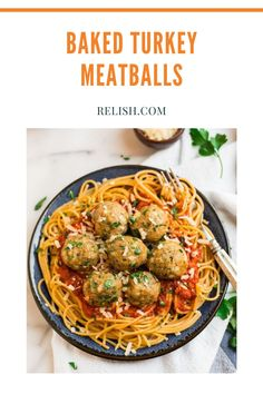 These baked turkey meatballs are the best and super easy too! Flavored with parmesan cheese, herbs and spices- baked until perfectly golden brown. These turkey meatballs are great over a big bowl of spaghetti. Pasta Recipes, Dinner Recipes, Baked Turkey, Just Bake, Dinner Bell, Turkey Meatballs, Big Bowl, Golden Brown, Turkey Recipes
