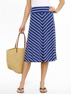 Diagonal Stripes Jersey-Knit Full Skirt #Talbots