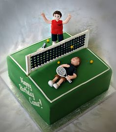 Tennis cake for some sibling rivalry - Made this for a client's son. The younger brother beat his older brother at tennis and they wanted the cake to reflect his victory. Tennis Cake, Tennis Party, Dad Birthday Cakes, Boy Birthday Parties, Rodjendanske Torte, Girly Cakes, Elegant Desserts, Sibling Rivalry, Rugby