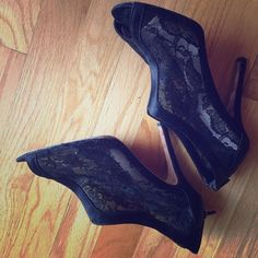 Glint heels Lace heels. Slight fraying on the right side of the right heel (as seen in picture). Bottoms are worn. Otherwise good condition. Glint Shoes Heels