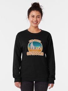 """The Great Outdoors Retro Moon"" Pullover Sweatshirt by altwhimsy | Redbubble #ad Crew Neck Sweatshirt, Graphic Sweatshirt, Pullover, Hot Dogs, Vintage Shirts, Retro Shirts, Tshirt Colors, Chiffon Tops, Female Models"