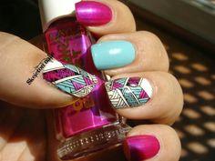 Skeleton nails: Reto Cosas de Chicas #Rosa... Fuchsia