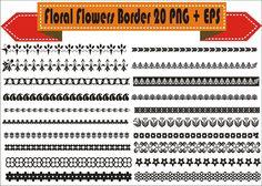 Floral Flowers Border Vintage Corner Retro Vector Clipart PNG EPS Set Digital Files Transparent Scrapbook Supplies Clip Art Instant Download by VectorArtShop on Etsy