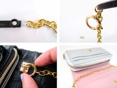 Cafe Craftea: DIY | Leather Chain Crossbody Bag Strap + Turn Any Clutch Into A Crossbody!