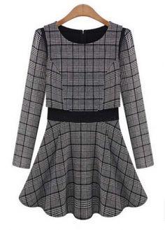 Sweet Round Neck Plaid Puff Sleeve A Line Dress