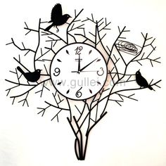 Tree Birds Large Decorative Metal Wall Clock