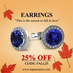 Round Tanzanite Earring With Diamonds in 14k White Gold. Get 25% Off Use code #FALL25