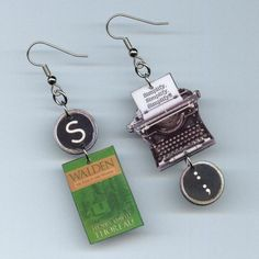 Book Cover Earrings - Walden Henry David Thoreau quote transcendental - Typewriter jewelry - book club librarian student literary gift
