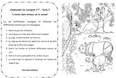 Lire et comprendre les consignes Cycle 2 French Worksheets, Cycle 2, Lus, Reading Comprehension, Art School, School Ideas, Homeschool, Language, Education